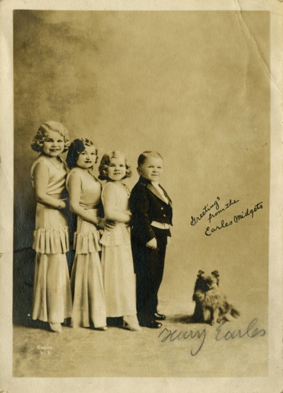 """Harry Earles (1902-1985) and his sisters, Gracie, Daisy and Tiny were part of the """"The Doll Family,"""" a multitalented family of dwarf entertainers. Harry was also one of the Lollipop Guild in The Wizard of Oz."""