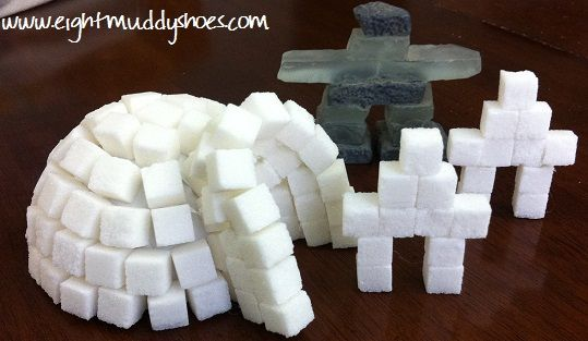 CANADA: sugar cube igloo & inukshuks. Love the inukshuk idea, esp. since that seems to be so big for T&E. Would be a good connection with them!