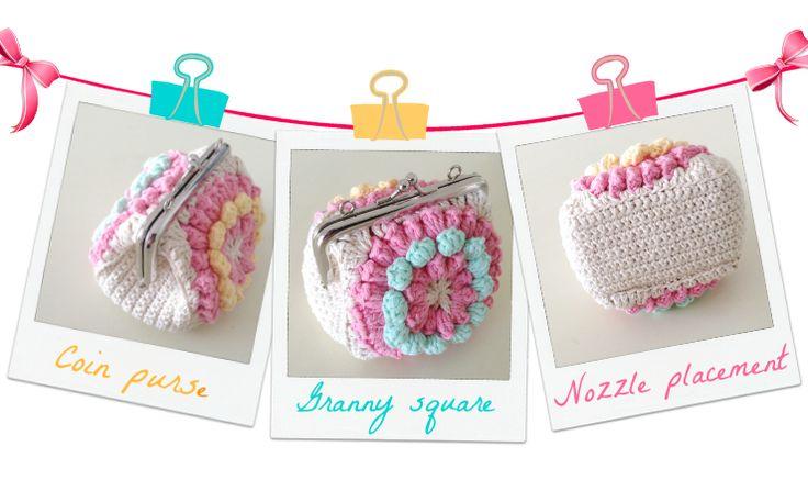 HandworkDIY: Monedero Crochet, granny Square, Nozzle Placement