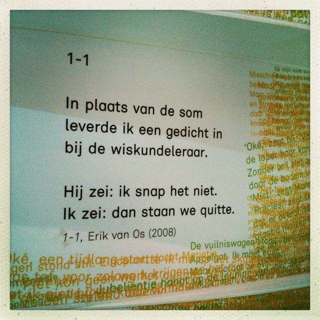 Wederzijds begrip kweken. Ik vind 'm briljant. Via het kinderboekenmuseum, waar het gedicht hangt in de Papiria tentoonstelling.