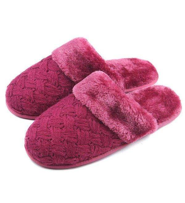 adc1b064b Women Soft Cozy Plush Warm Home Slippers Non Slip Cable Knit Indoor House  Shoes - Wine Red - CW186RC60S4,Women's Shoes, Slippers #Shoes #Slippers  #fashion ...