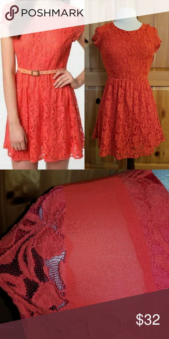 50% OFF Urban Outfitters Orange Lace Dress Sweet orange lace dress from Urban Outfitters. Sheer lace covers a solid slip underneath. The shoulders add some flare with a mesh opening. Condition: EUC ( Belt not included) Retail: $88.00 Size: M Length: 32 in LIMITED TIME ONLY 25% OFF BUNDLES OF 2 OR MORE!!! MAKE AN OFFER I CANT REFUSE! QUICK SHIPPER! Urban Outfitters Dresses Mini
