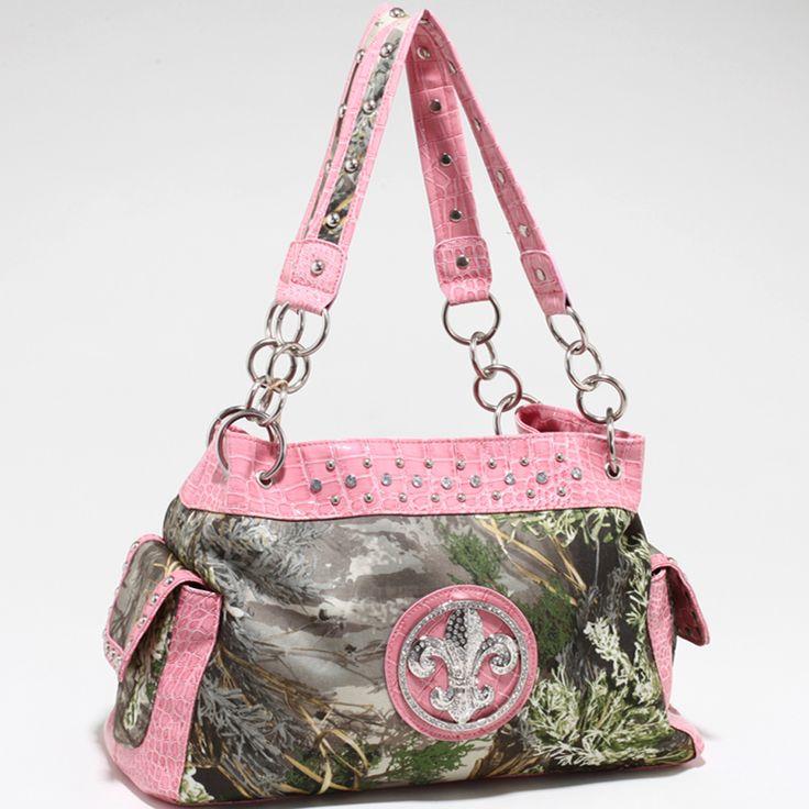 Real Tree Camouflage Fleur de Lis accent shoulder Handbag - Light Pink