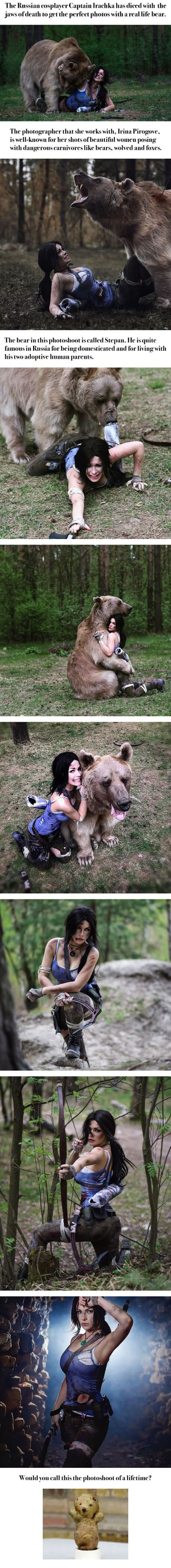 Lara Croft Cosplayer Poses With Actual, Giant Bear!