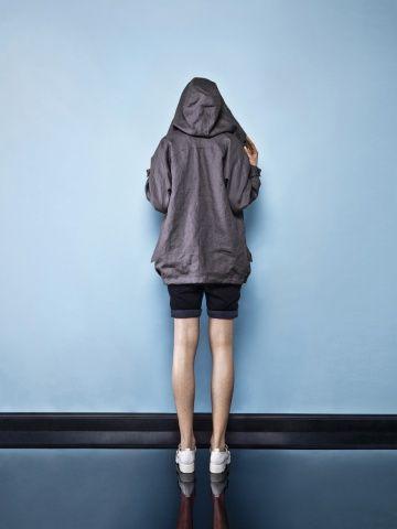 FEMALE LINEN DARK GREY PARKA Female jacket Perfect jacket Oversized hood jacket