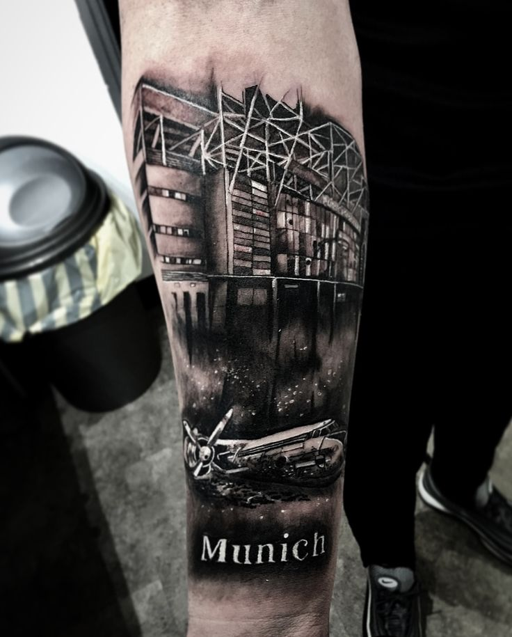 Old Trafford Manchester United/ Munich Air disaster Tribute Tattoo.
