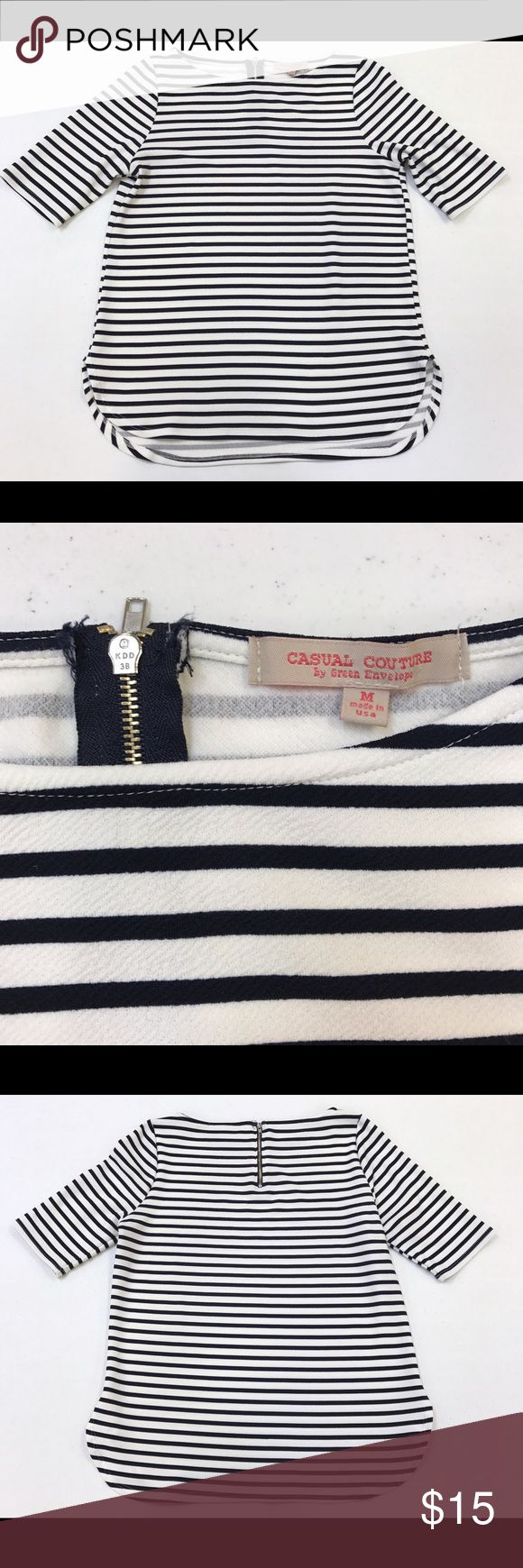 [Casual Couture] navy career striped Blouse In excellent condition with no flaws. Made with great quality. Can be worn for work or a casual evening. Really nice shirt! casual couture Tops Blouses
