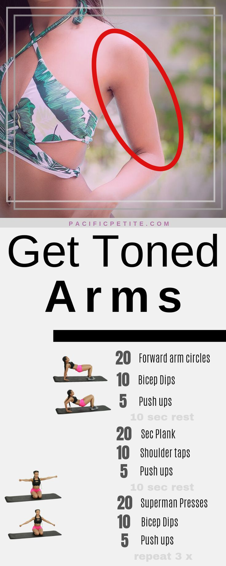 workout plan to tone arms at home, no equipment needed for women to get rid of flabby arms
