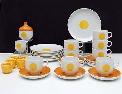 Porcelain Studio-Linie breakfast-service Plus with yellow orange accents 8x breakfast plate diam.20 cm 8x cup saucer milkjug sugarbasin 6x egg-cup design Wolf Karnagle 1971 executed by Rosenthal / Germany