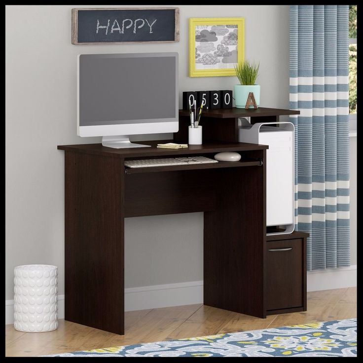 Compact Computer Desk Student Bedroom Workstation Keyboard Shelf Storage Cabinet #CompactComputerDesk #ModernCompact