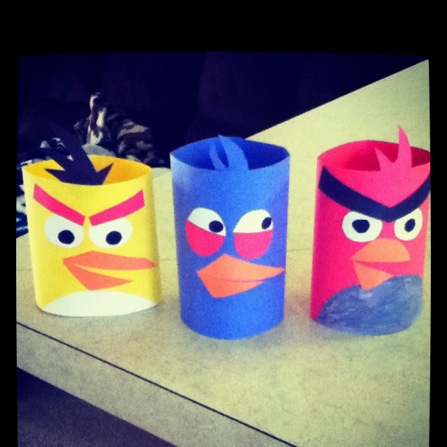 me and my toddler made angry birds out of construction