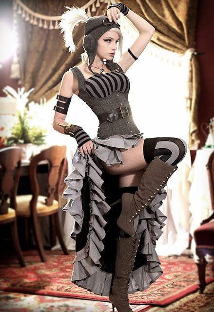 Women's fashion Steampunk DIY - How to recreate this costume (Steamgirl Kato's Steampunk Burlesque Dancer) - how to find each piece (where to shop online) and customize it for your cosplay needs.