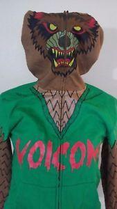 Volcom-Werewolf-Full-Zip-Face-Mask-Hoodie-size-Medium-Green-Brown