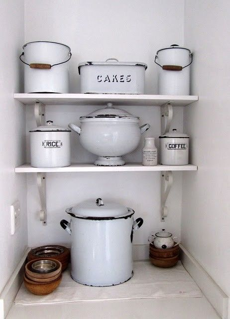 Enamelware -- I need an old poo bucket (that's what some of these are)  great for kitchen scraps to hull down to compost pile