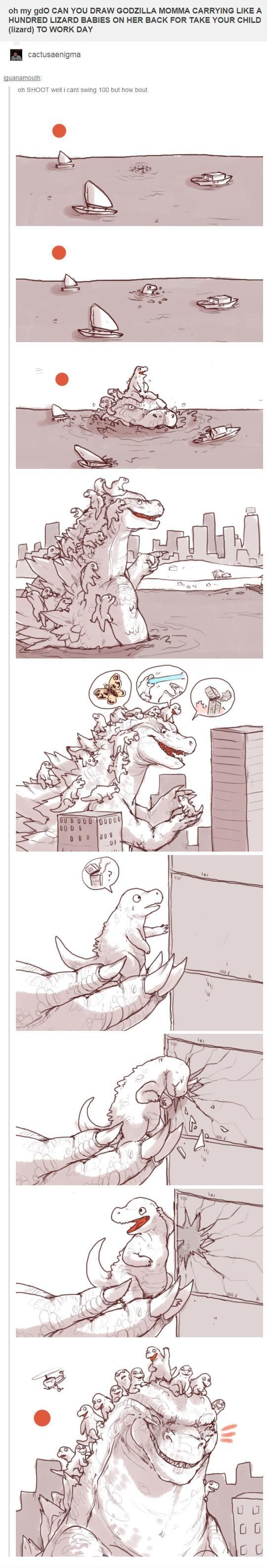 Godzilla participates in take your kid to work day
