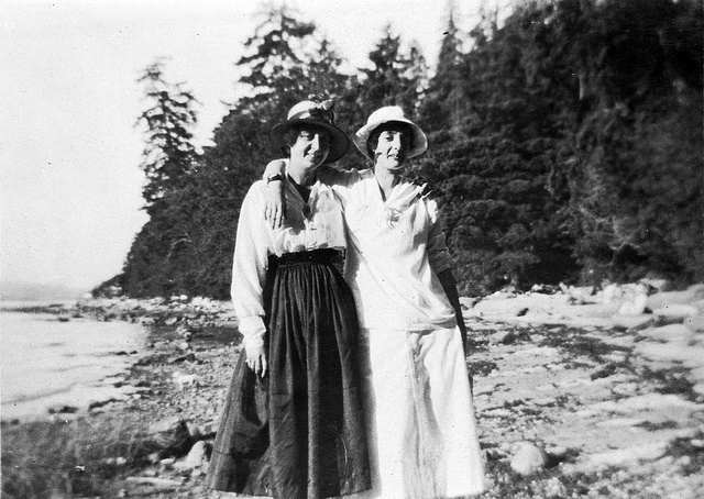 Two lovely women at the beach, Vancouver, British Columbia, c.1915-1925. #vintage #Canada #friends