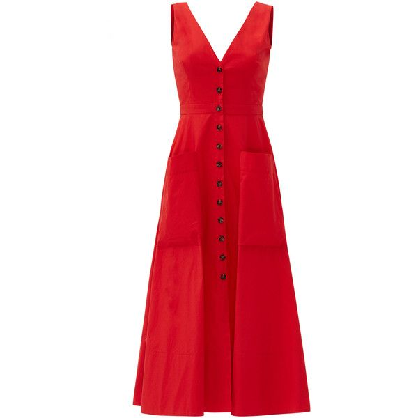Rental SALONI Red Zoey Dress ($70) ❤ liked on Polyvore featuring dresses, red, sleeveless cotton dress, v-neck dresses, red v neck dress, sleeveless dress and cotton dresses