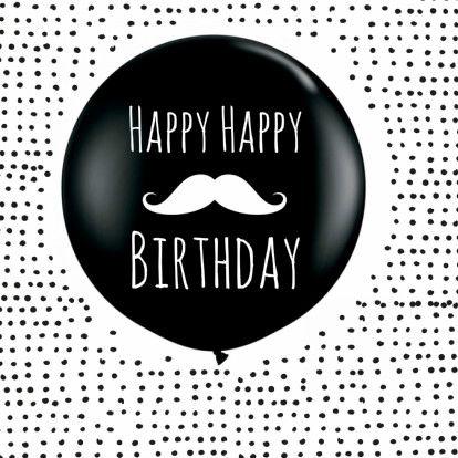 Verjaardagkaart zwart-wit met ballon en snorretje, verkrijgbaar bij #kaartje2go voor €1,79