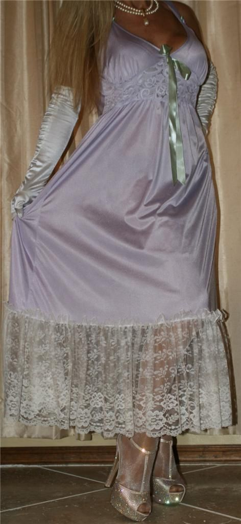 Lilac Nightgown With White Lace Trim Sheer Shimmer Pantyhose and Gold Ankle Strap High Heels