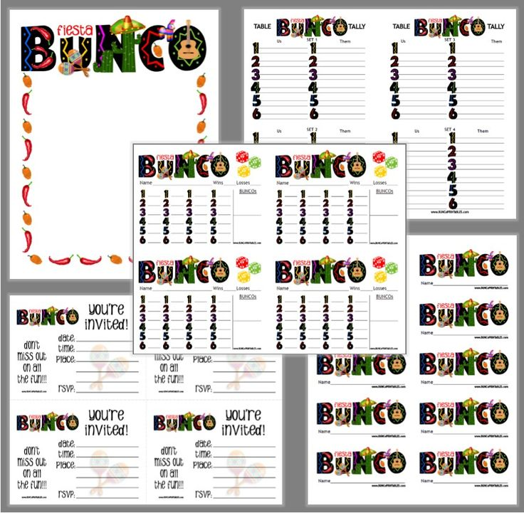 Fiesta Bunco Set | www.BuncoPrintables.com