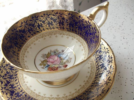 Antique Aynsley bone china JA Bailey signed tea cup set, blue and gold tea cup and saucer, English tea set, pink rose cup saucer