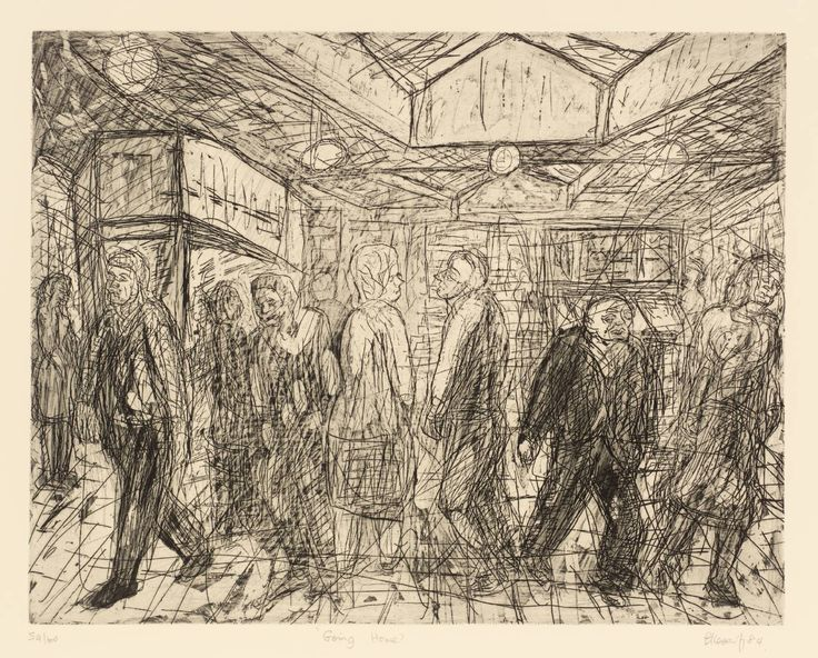 Artist;Leon Kossoff  Title;Going Home Date;1984 Medium;Drypoint, etching and aquatint on paper Dimensions;404 x 514 mmThe subject of 'Going Home' is the booking hall of Kilburn Underground Station seen from the Christchurch Avenue entrance. Kossoff began working on this etching at the same time as 'Outside Kilburn Underground'.