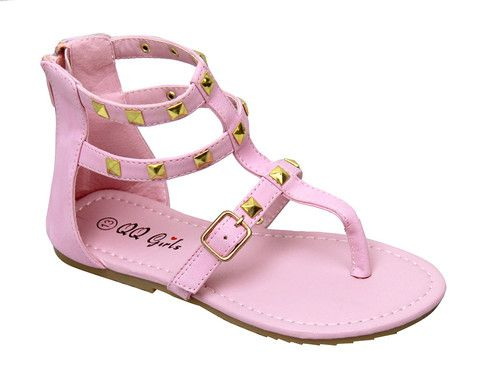 Kayla Studded Girls Sandal in Pink