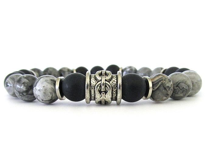 Bracelet jaspe gris hommes avec perles en Onyx noir mat et des Accents étain - bijoux pour hommes - Bracelets pour les hommes - Bracelet - M0113 de perles