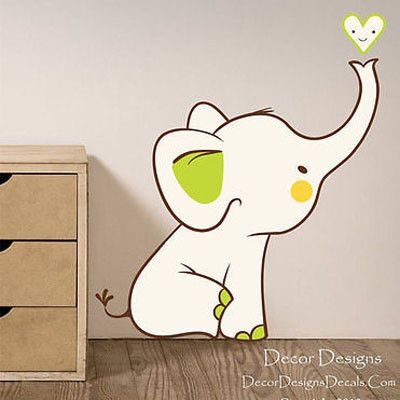 Baby Elephant Printed Fabric Repositionable Wall Decal