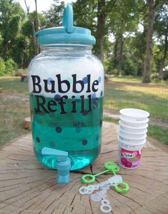 I can get a cheap Wal-Mart drink dispenser for this. I'll look up a bubble recipe online and just make them at home. I'll get some bubble wants at the dollar store. I want to do this for Annie's bday too