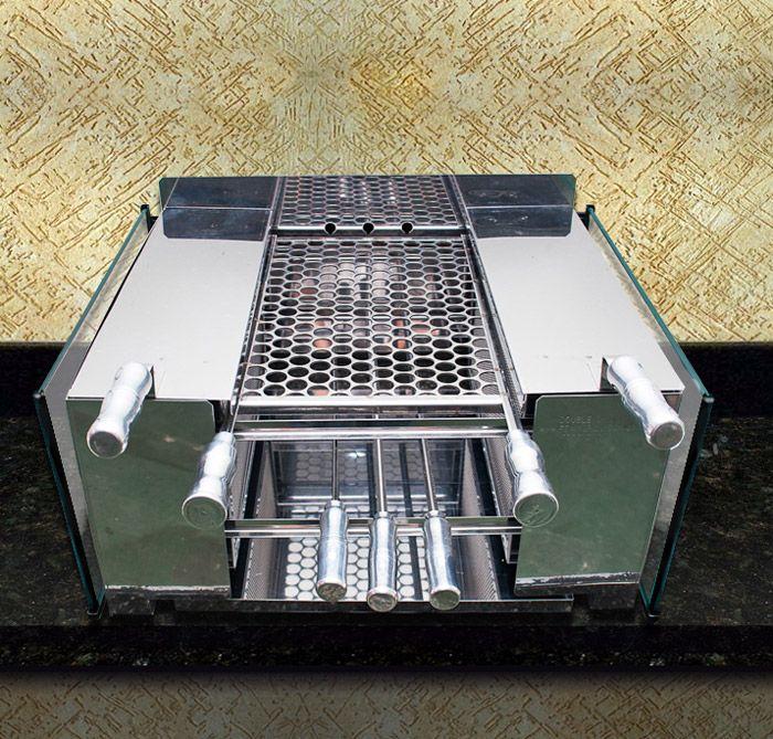 Churrasqueira sem Fumaça a Carvão em Aço Inox Double Grill :: Loja do Grill