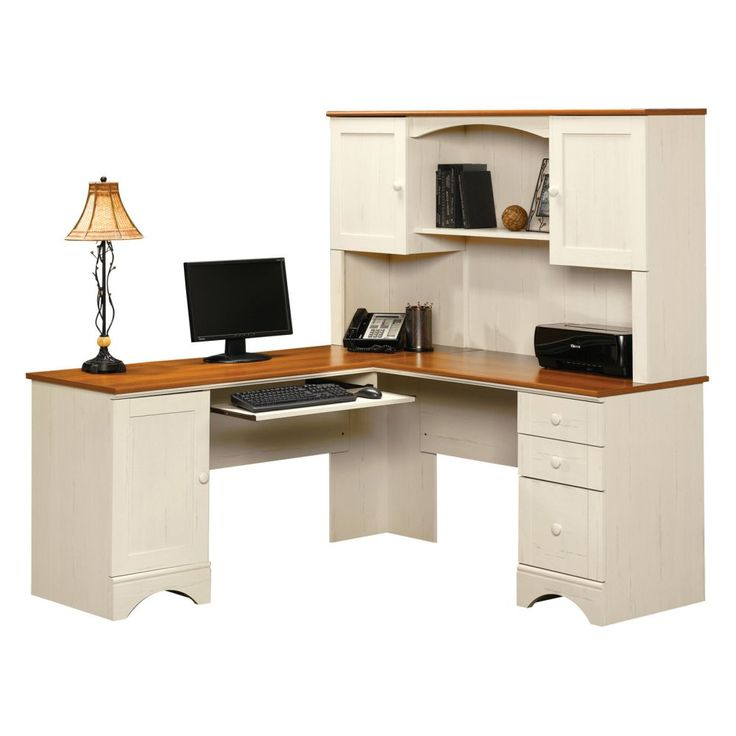 Sauder Harbor View Corner Computer Desk with Hutch - Antiqued White - Desks at Hayneedle