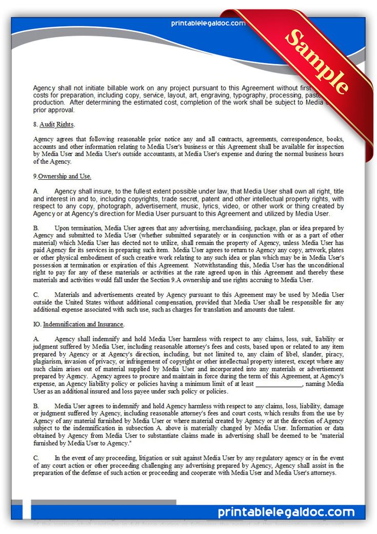 Free Printable Ad Or Media Agency Agreement Legal Forms Free - production contract agreement