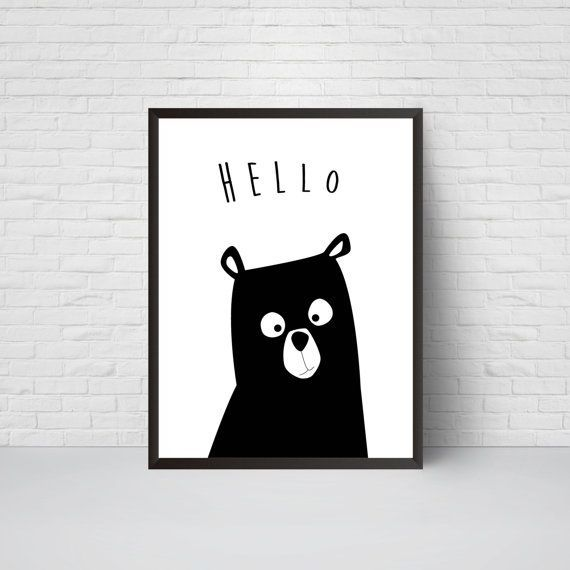Bear Nursery Print, Hello Bear Art, Black and White Modern Kids Room Decor, Large Print, Minimalist Poster, Woodland, Baby Shower