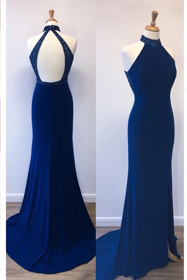 Gorgeous Royal Blue Mermaid Long Prom Dress Evening Dress