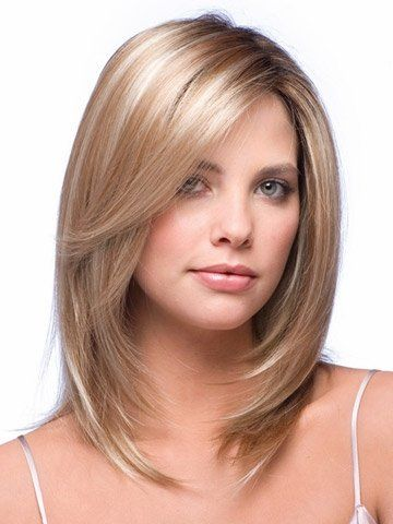 Layered medium length hair with face framing layers