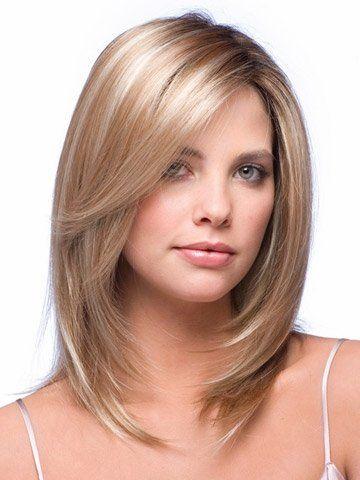 Layered medium length hair with face framing layers
