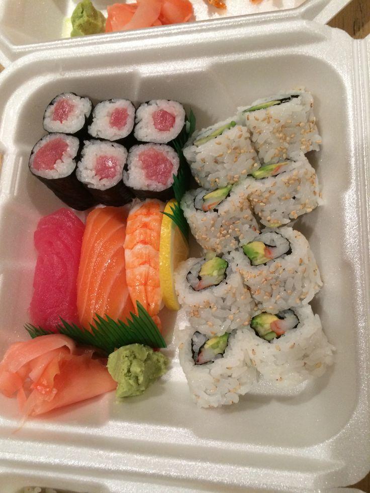 Dinner F - tuna roll, California Roll w/ tuna, salmon and shrimp nigiri