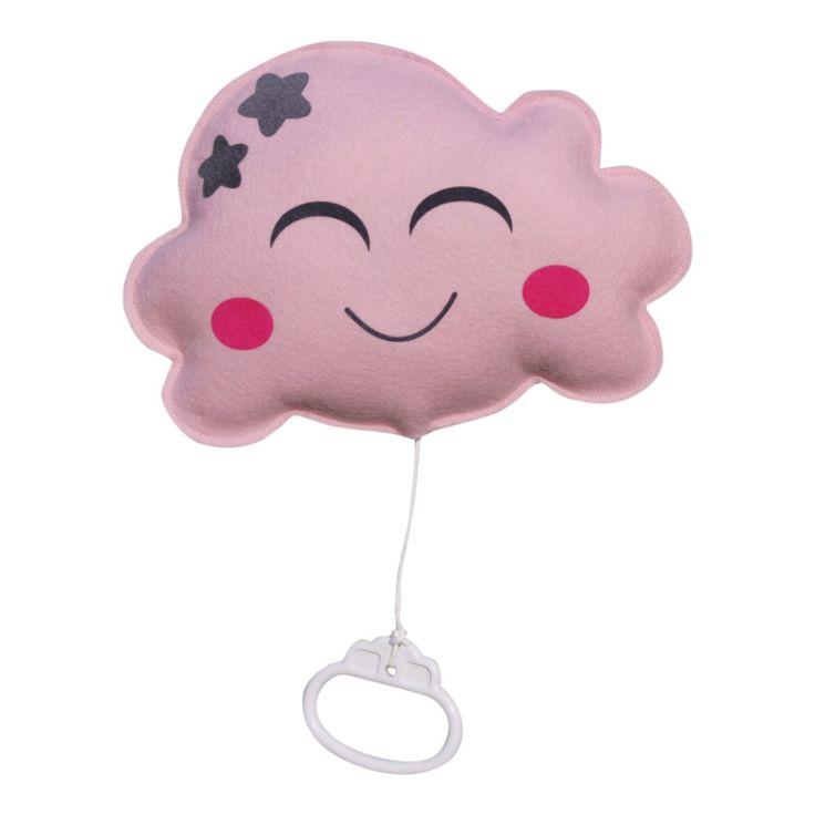 Muziekdoosje wolk in roze, handgemaakt van wolvilt, met een lief gezichtje. Het muziekdoosje speelt de rustige melodie van Brahms lullaby. Afmeting: Breedte 22cm hoogte 16cm. Ook verkrijgbaar in mintgroen en wit.