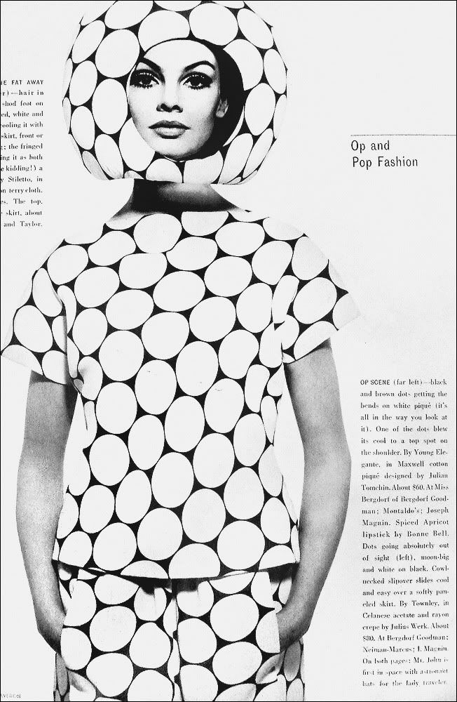 OPT ART. Optical art- visual art that is intende to create optical illusions, Here is an example of Opt art on a dress.