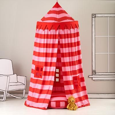 striped canopy: Sweet, Pink Stripes, Playhouses, Plays Tent, Playrooms, Plays Houses, Land Of Nod, Landofnod, Kids Canopies
