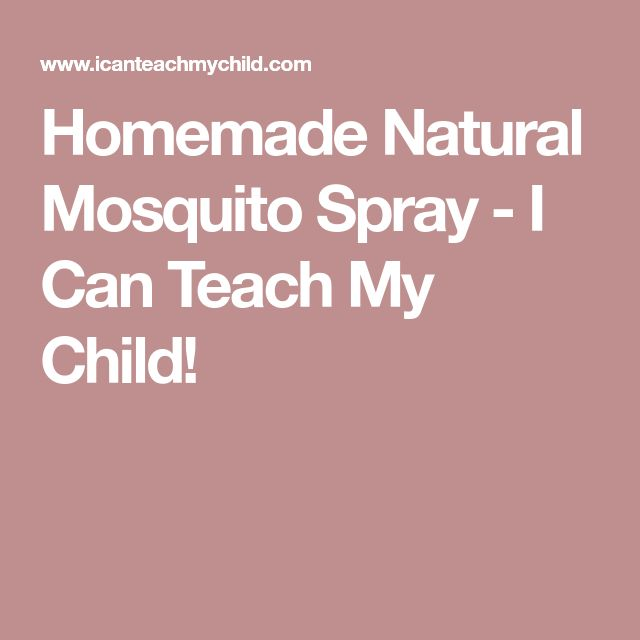 Homemade Natural Mosquito Spray - I Can Teach My Child!