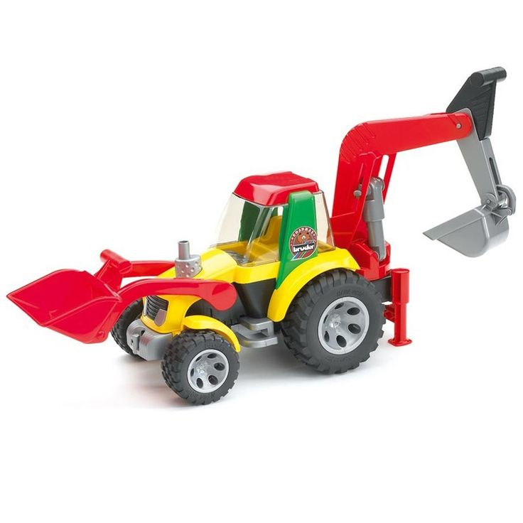 The Bruder Roadmax Toddler Backhoe Loader is a super cool, super durable tractor toy. Manufactured by Bruder. Recommended for 2 years, 3 years.