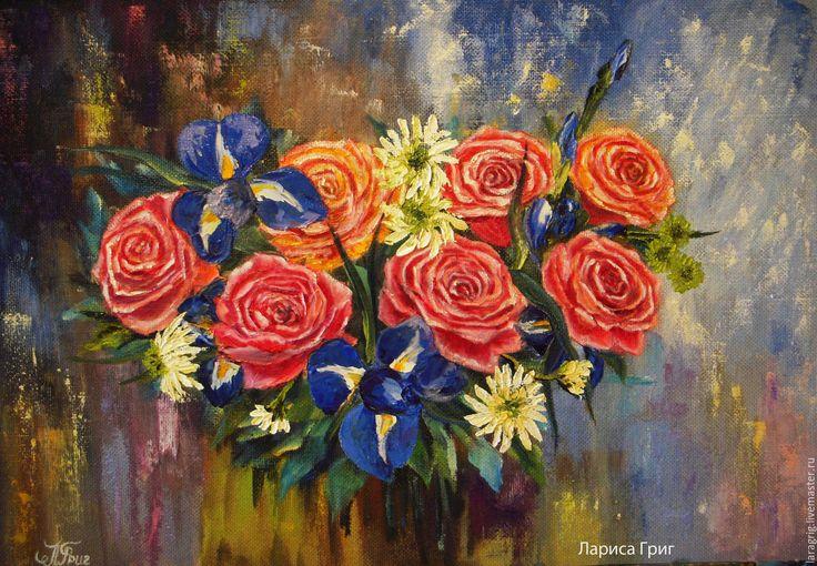 """Купить """"Дарите женщинам цветы!"""" - художник Лариса Григ - коралловый, розы, картина для интерьера"""