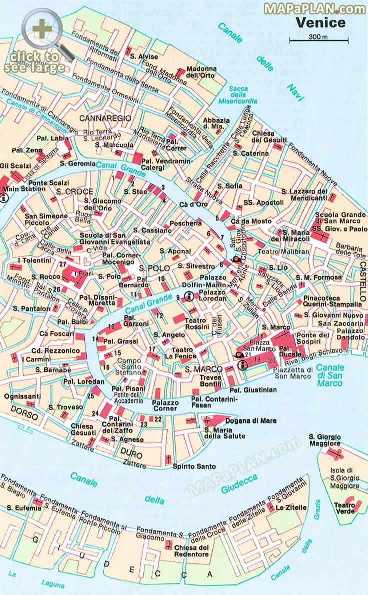 Central Venice most popular historical sights Venice top tourist attractions map