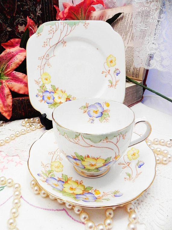 Vintage Rosyln China Bone China Tea Set Trio English Afternoon Tea Party Wedding Table Bridal Shower Gift
