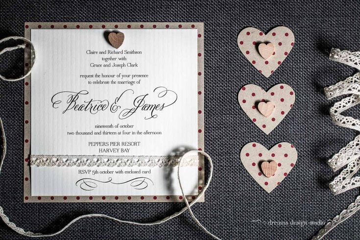 You are 'One In A Million'- polka dots, lace, timber heart- rustic wedding invitation