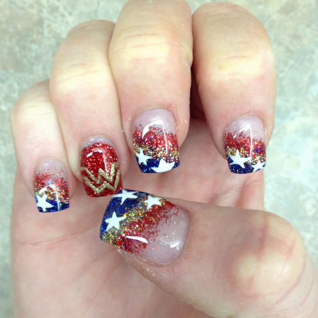 My Wonder Woman Nails done for my Birthday! Thanks to Edy at Profiles <3