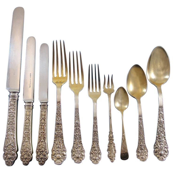 Medici Old by Gorham Sterling Silver Flatware Set Service Vermeil 162 Pieces | From a unique collection of antique and modern sterling silver at https://www.1stdibs.com/furniture/dining-entertaining/sterling-silver/