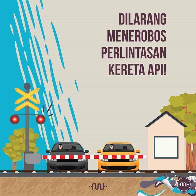 Menerobos palang pelintasan kereta api yang sudah tertutup adalah perbuatan berbahaya. Maka demi keselamatan, lebih baik kalian menunggu sejenak sampai kereta api lewat, dan palang kereta terangkat. ● UU Nomor 22 Tahun 2009, Pasal 114 telah mewajibkan setiap pengemudi untuk berhenti dan mendahulukan perjalanan kereta api, jangan coba untuk melanggar, karena akan mendapat sanksi dipidana kurungan paling lama 3 (tiga) bulan, atau denda paling banyak Rp 750.000,-. Ingat sudah banyak contoh…